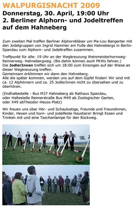 Einladung Alphorntreffen 2009