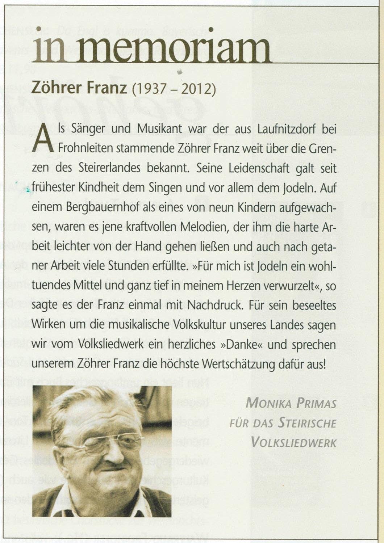 Franz Zöhrer - Nachruf von Monika Primas